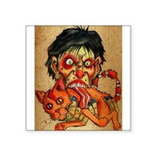 zombie eating bacon cat Sticker