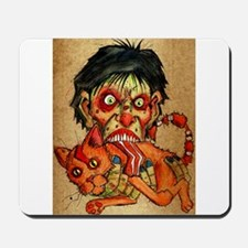 zombie eating bacon cat Mousepad