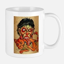 zombie eating bacon cat Mug