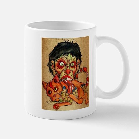 zombie eating bacon cat Mug