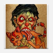 zombie eating bacon cat Tile Coaster