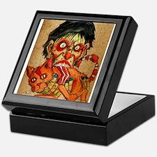 zombie eating bacon cat Keepsake Box