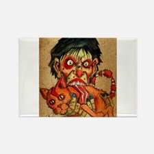 zombie eating bacon cat Rectangle Magnet