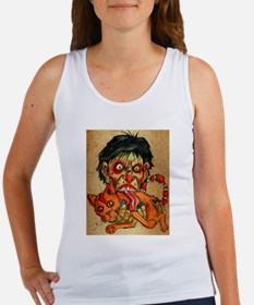 zombie eating bacon cat Tank Top