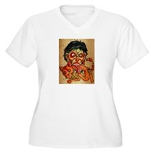 zombie eating bacon cat Plus Size T-Shirt