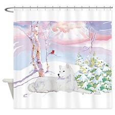 samoyed_winter_scene.jpg Shower Curtain