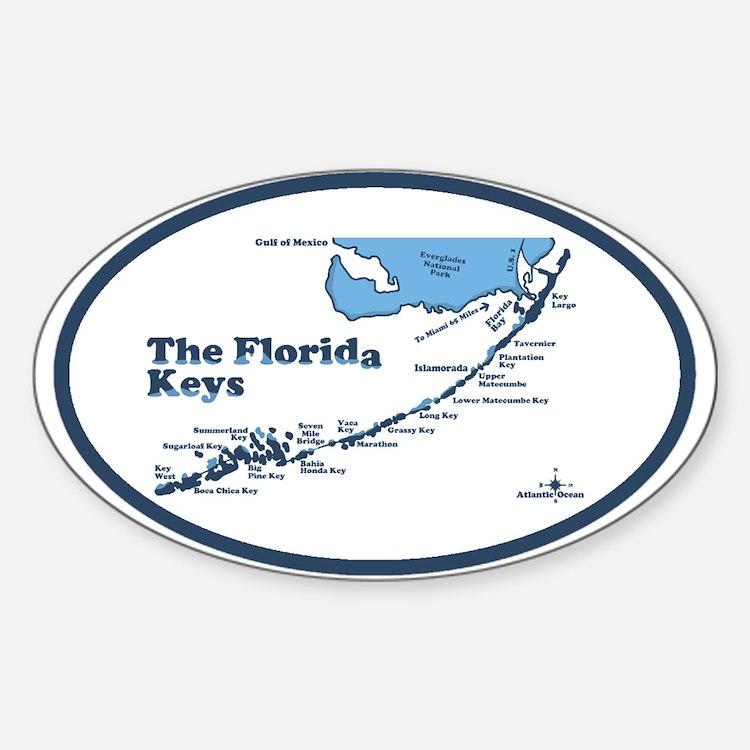 Florida Keys - Map Design. Sticker (Oval)