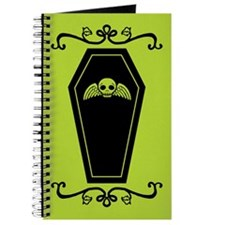Cute Coffin Green And Black Journal