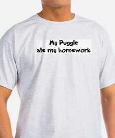 Puggle ate my homework Ash Grey T-Shirt