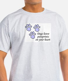 Blue dogs leave pawprints on your heart Ash Grey T