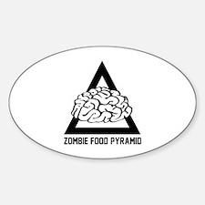 Zombie Food Pyramid Sticker (Oval)