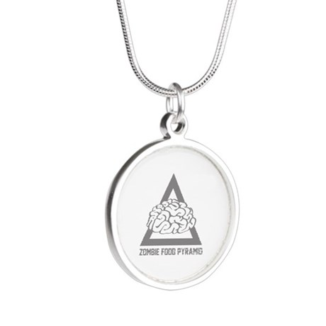 Zombie Food Pyramid Silver Round Necklace