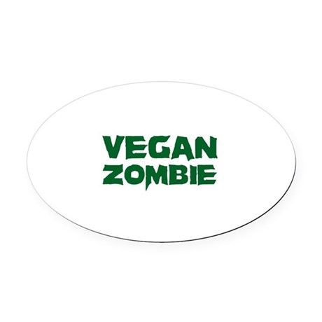 Vegan Zombie Oval Car Magnet