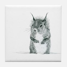 Cute Squirrel Drawing Tile Coaster