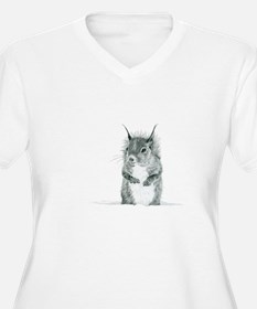 Cute Squirrel Drawing Plus Size T-Shirt