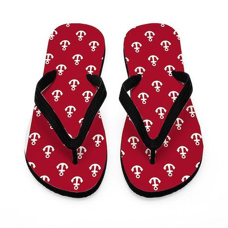 Dark Berry Red Ship's Anchors Flip Flops