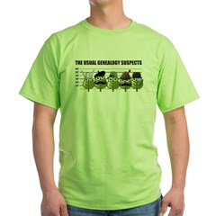 The Usual Genealogy Suspects Green T-Shirt