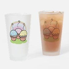 three cute little cupcakes Drinking Glass
