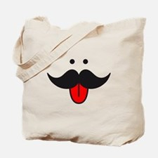mustache face design with red tongue Tote Bag