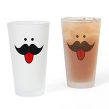 mustache face design with red tongue Drinking Glas