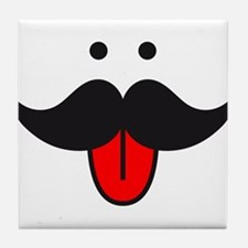 mustache face design with red tongue Tile Coaster
