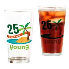 25th Birthday Tropical Drinking Glass