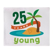 25th Birthday Tropical Throw Blanket