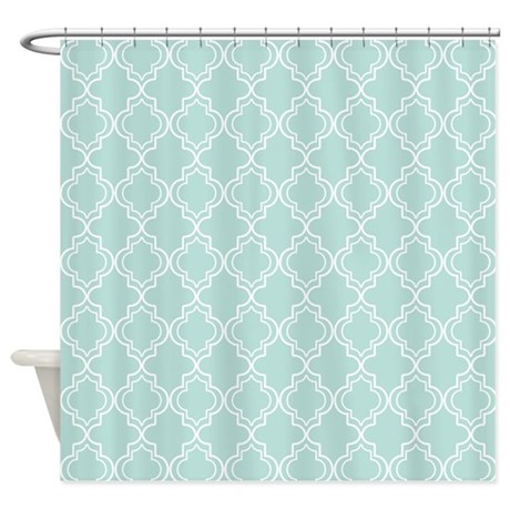 Light Teal Moroccan Quatrefoil Shower Curtain By HHTrendyHome