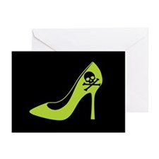 Poison Green High Heel Shoe Greeting Cards (Pk of