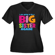 Big Sister Again Women's Plus Size V-Neck Dark T-S