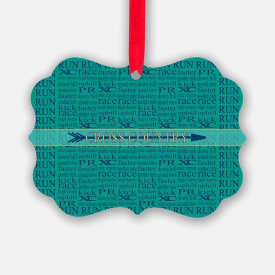 Cross Country Running Collage Blue Ornament