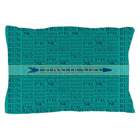 Cross Country Running Collage Blue Pillow Case