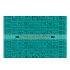 Cross Country Running Collage Blue Postcards (Pack