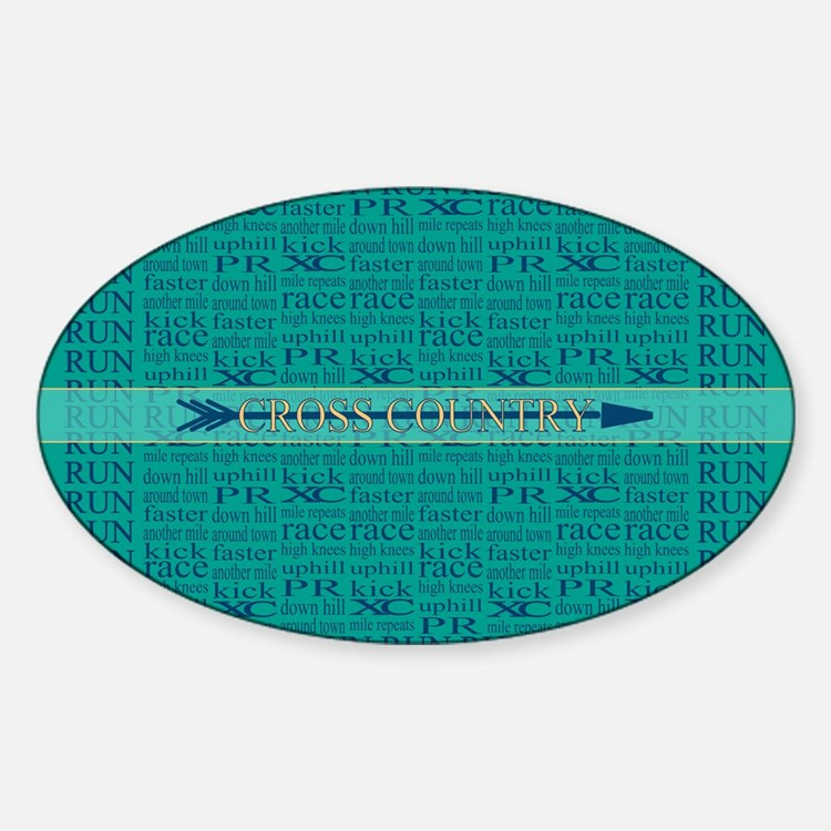 Cross Country Running Collage Blue Decal
