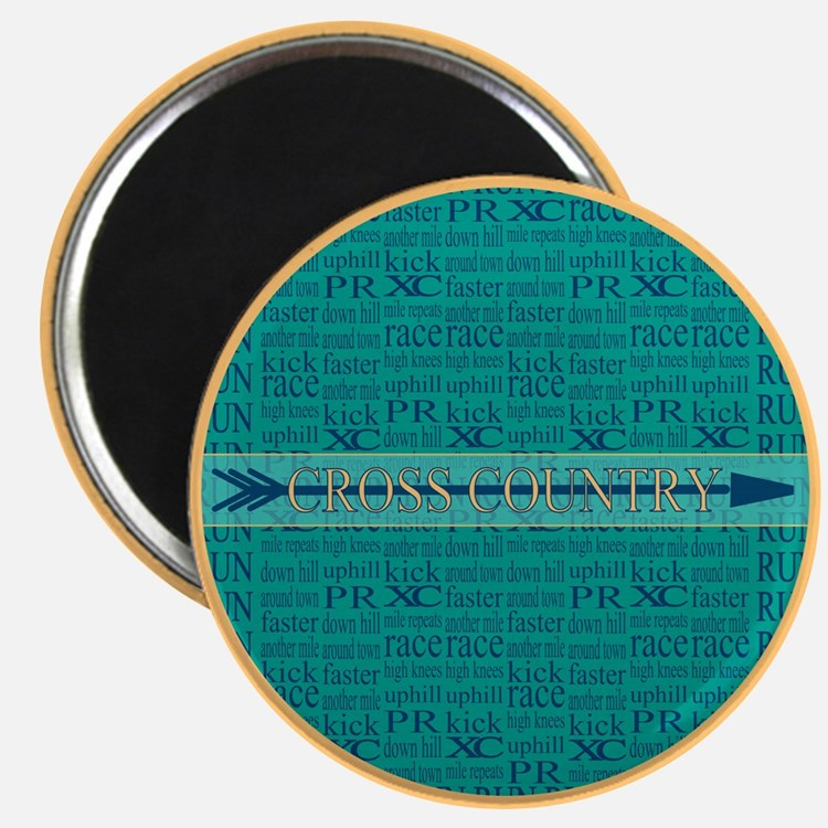 """Cross Country Running Collage Blue 2.25"""" Magnet (1"""