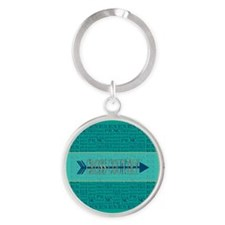 Cross Country Running Collage Blue Round Keychain