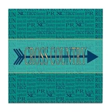 Cross Country Running Collage Blue Tile Coaster