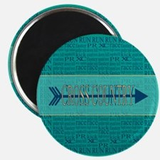 Cross Country Running Collage Blue Magnet