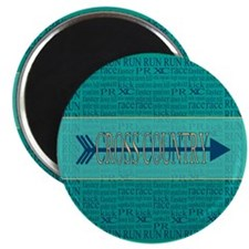 "Cross Country Running Collage Blue 2.25"" Magnet (1"