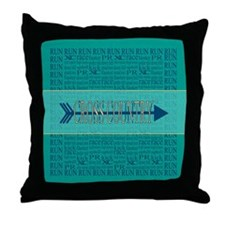 Cross Country Running Collage Blue Throw Pillow