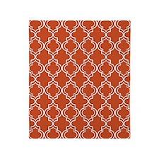 Pumpkin Orange Moroccan Quatrefoil Throw Blanket