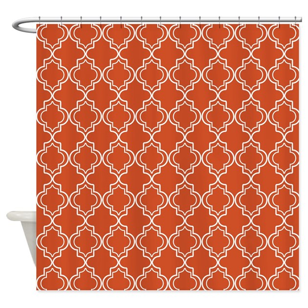 Pumpkin Orange Moroccan Quatrefoil Shower Curtain By