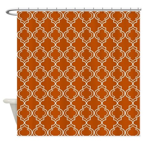 spice orange moroccan quatrefoil shower curtain by