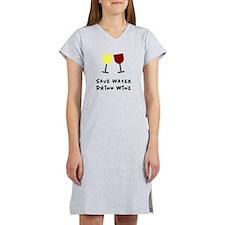 Save water drink wine Women's Nightshirt