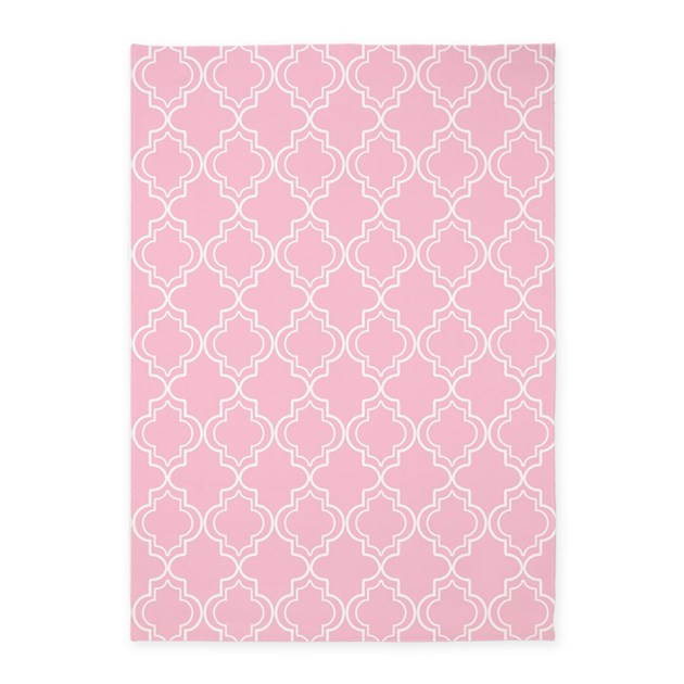 Pink Moroccan Quatrefoil 5'x7'Area Rug By HHTrendyHome