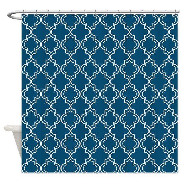 Nautical Blue Moroccan Quatrefoil Shower Curtain By HHTrendyHome