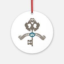 25th Anniversary vintage key Ornament (Round)