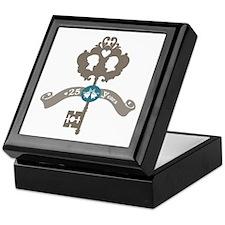 25th Anniversary vintage key Keepsake Box