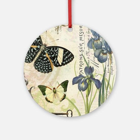 modern vintage French butterflies and iris Ornamen