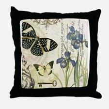modern vintage French butterflies and iris Throw P